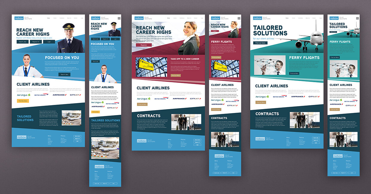 Website design layouts by Avalanche Design in Dublin
