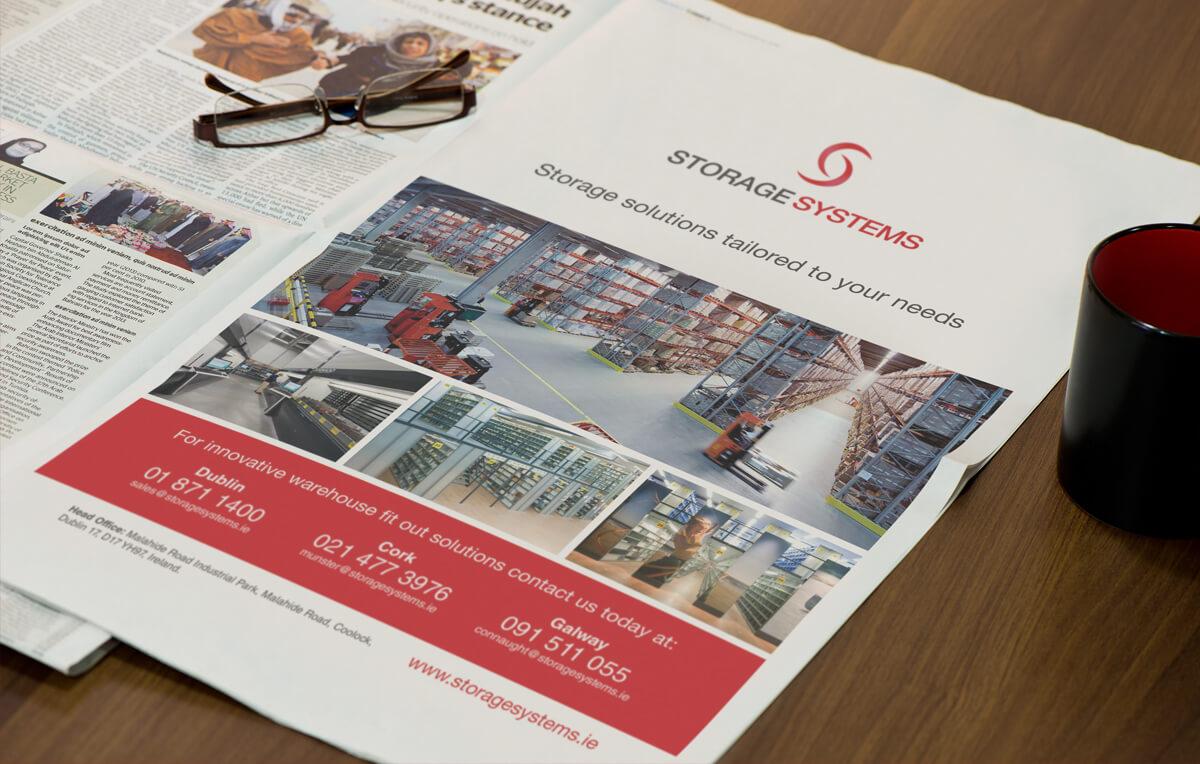 Storage Systems press ad design by Avalanche Design