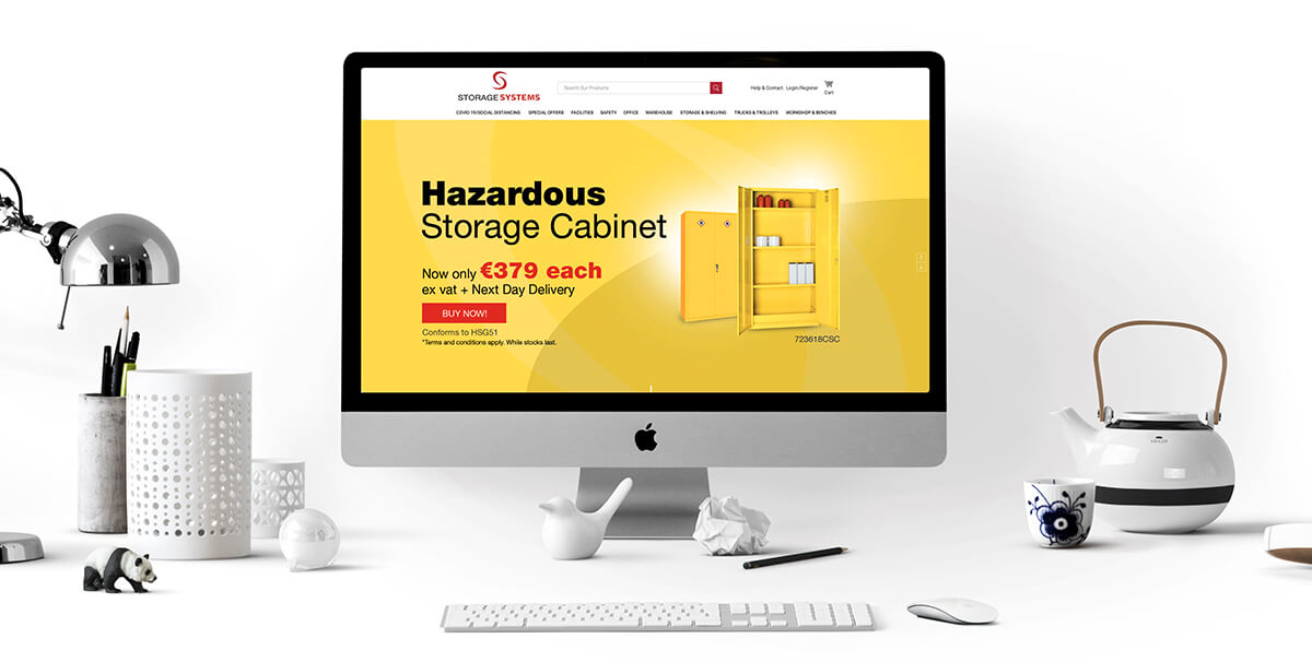 Storage Systems catalogue website home page design by Avalanche Design